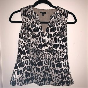 Ann Taylor 00P Sleeveless Lined Cheetah Print Top
